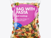 Plastic Bag With Tricolor Conchiglie Pasta Mockup