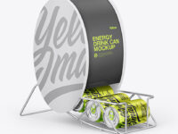 Dispenser w/ Glossy Metallic Cans Mockup
