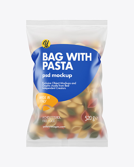 Frosted Plastic Bag With Tricolor Conchiglie Pasta Mockup