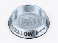 Metallic Pet Feeding Bowl Mockup