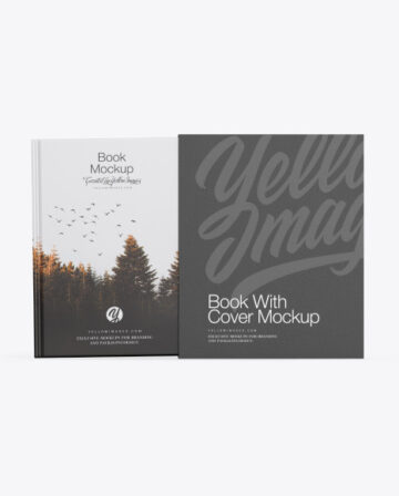 Matte Hardcover Book With Paper Cover Mockup