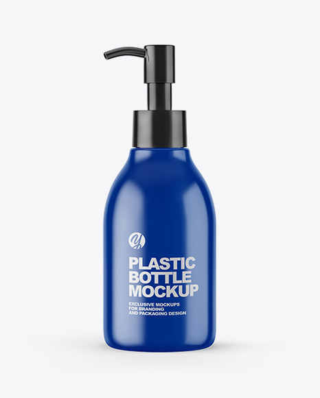 Glossy Cosmetic Bottle with Pump Mockup
