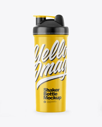 Glossy Shaker Bottle Mockup - Front View