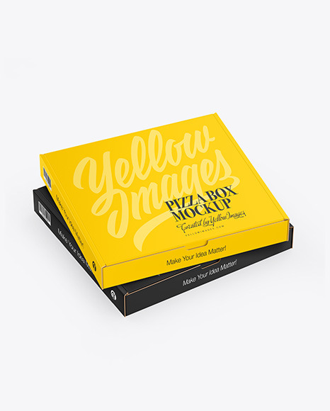 Two Matte Pizza Boxes Mockup