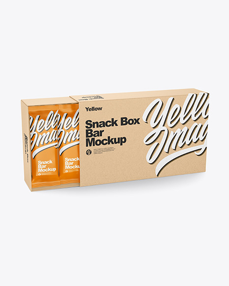 Kraft Paper Box with Snack Bars Mockup
