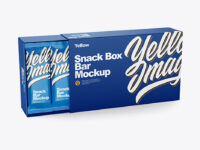 Paper Box with Snack Bars Mockup