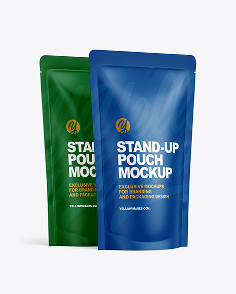 Two Matte Stand-up Pouches Mockup