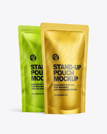 Two Metallic Stand-up Pouches Mockup