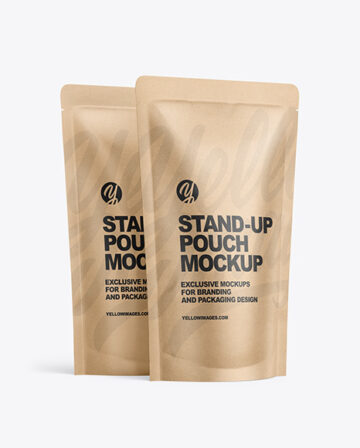 Two Kraft Paper Stand-up Pouches Mockup