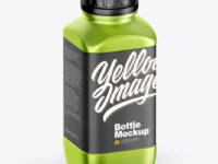 Metallic Bottle Mockup - Half Side View