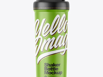 Matte Shaker Bottle Mockup - Front View