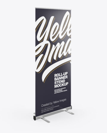 Roll-up Banner Stand Mockup - Halfside View