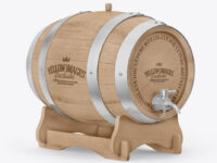 Wooden Barrel on Stand Mockup