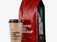 Matte Bag with Coffee Cup Mockup