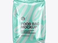 Metallic Food Bag Mockup - Front View