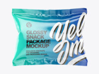 Square Glossy Snack Package Mockup