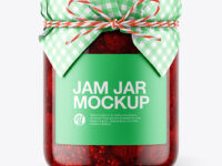 Glass Strawberry Jam Jar with Paper Cap Mockup