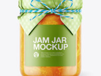 Glass Orange Jam Jar with Paper Cap Mockup