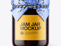 Glass Blackberry Jam Jar with Paper Cap Mockup