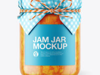 Glass Apricot Jam Jar with Paper Cap Mockup