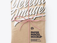Kraft Paper Parcel With Row Bow Mockup - Top View