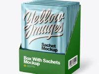Metallic Sachets in Display Box Mockup