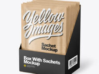 Kraft Paper Sachets in Display Box Mockup