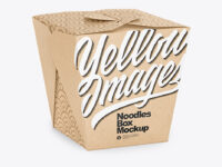 Kraft Paper Noodles Box Mockup - Half Side View (High Angle Shot)