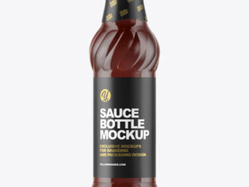 Glass Bottle with BBQ Sauce Mockup
