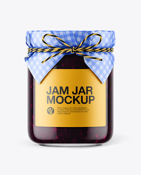 Glass Blueberry Jam Jar with Paper Cap Mockup