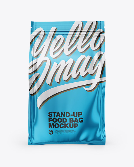 Metallic Stand-Up Bag Mockup - Front View