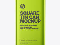 Metallic Square Tin Can Mockup