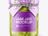 Glass Kiwi Jam Jar with Paper Cap Mockup