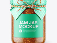 Glass Fig Jam Jar with Paper Cap Mockup