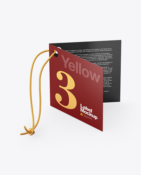 Folded Label With Rope Mockup