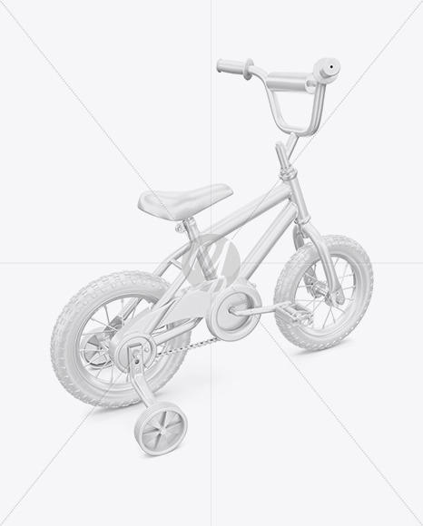 Children Bike Mockup - Back Half Side View