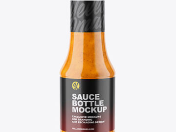 Clear Glass Sauce Bottle Mockup
