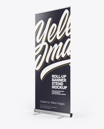 Roll-up Banner Stand Mockup - Right Halfside View
