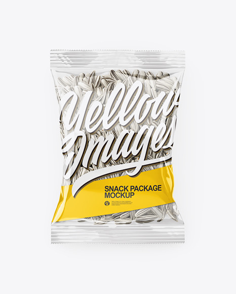 Clear Transparent Plastic Pack with White Sunflower Seeds Mockup - Top View