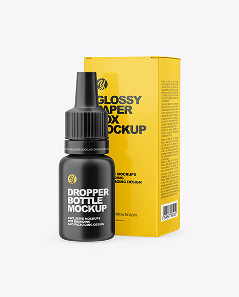 Matte Dropper Bootle with Glossy Paper Box Mockup