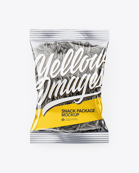 Clear Transparent Plastic Pack With Black Sunflower Seeds Mockup - Top View