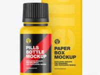 Matte Pills Bottle W/ Paper Box Mockup