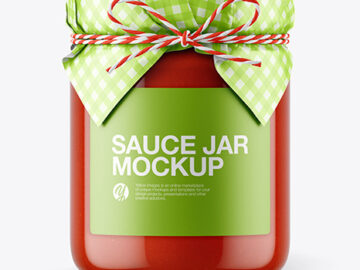 Glass Tomato Sauce Jar with Paper Cap Mockup