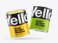 Two Glossy Paint Buckets Mockup