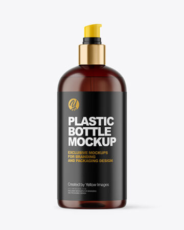 Amber Cosmetic Bottle with Pump Mockup