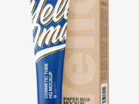 Cosmetic Tube w/ Kraft Paper Box Mockup