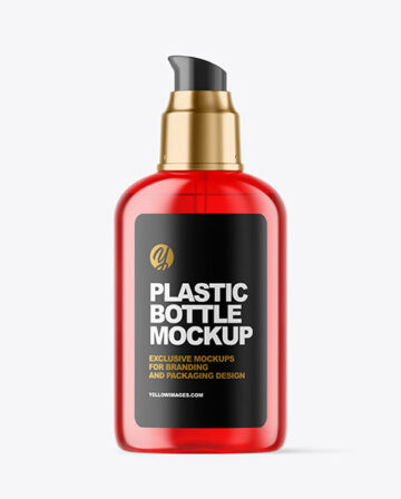 Color Plastic Cosmetic Bottle with Pump Mockup