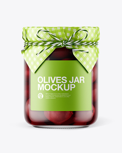 Glass Kalamata Olives Jar with Paper Cap Mockup