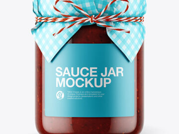 Glass BBQ Sauce Jar with Paper Cap Mockup