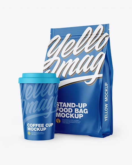 Matte Stand-Up Bag with Coffee Cup Mockup